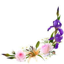 Flowers. Pink Roses. Floral Background. Green Leaves. Buds. Plant Pattern. Irises. Lilies. Border. Bouquet.