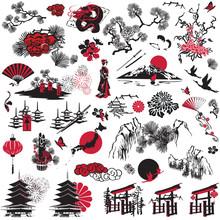 Miniatures Symbolizing Japan. Set Of Symbols On A White Background.