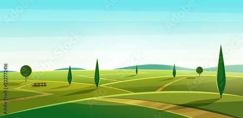 Photo Stands Turquoise Road on the hills. Summer landscape. Rural valley view. Beautiful green fields with and meadow, mountains and blue sky
