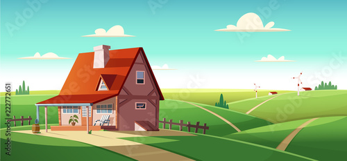 Rural landscape with village house on green fields