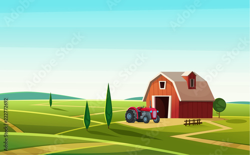 Photo Stands Turquoise Colorful countryside landscape with a barn and tractor on the hill. Rural location. Cartoon modern vector illustration