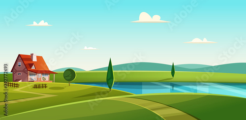 Rural landscape with cottage on the lake. Country house on the lakeshore. Farmland vector illustration