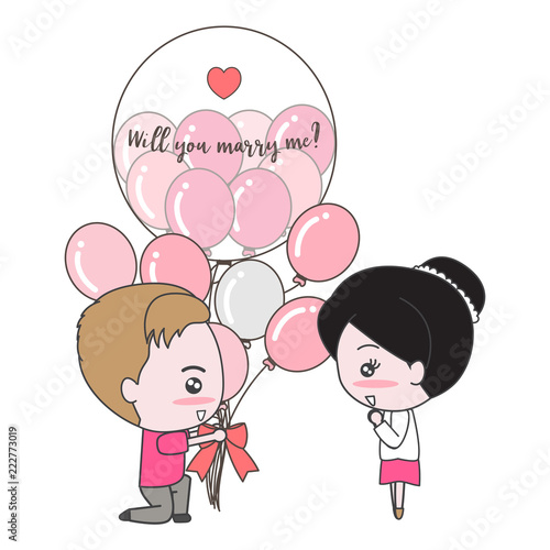 Isolated cute couple with balloons and heart decorated with text ...