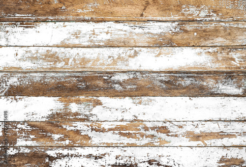 Obraz Vintage white wood background - Old weathered wooden plank painted in white color. - fototapety do salonu