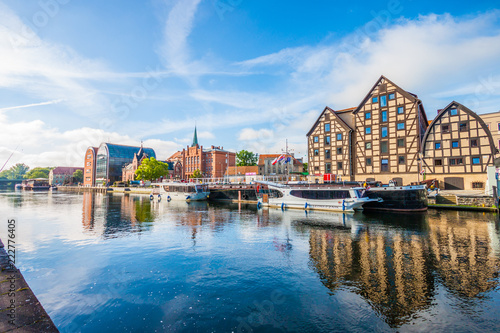 Architecture of Bydgoszcz city at Brda river in Poland.