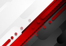 Red, Black And Grey Geometric Tech Abstract Background
