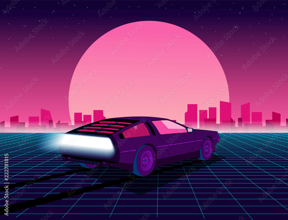 Fototapety, obrazy: Retro future. 80s style sci-fi background with supercar. Futuristic retro car. Vector retro futuristic synth illustration in 1980s posters style. Suitable for any print design in 80s style