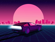Retro Future. 80s Style Sci-fi Background With Supercar. Futuristic Retro Car. Vector Retro Futuristic Synth Illustration In 1980s Posters Style. Suitable For Any Print Design In 80s Style