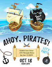 Pirate Party Cartoon Invitation Design With Pirate Ship And Sea. Vector Design Template For Poster Or Invitation.