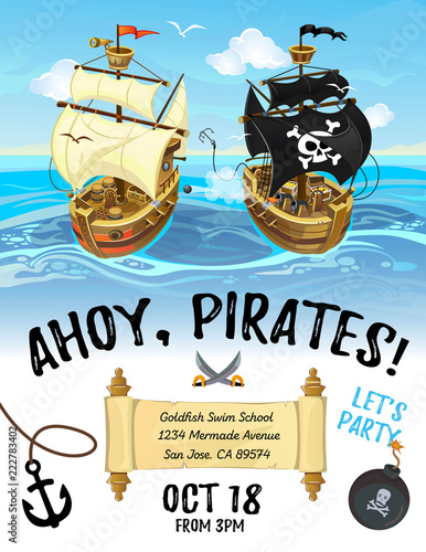 Pirate Party Cartoon Invitation Design With Ship And Sea
