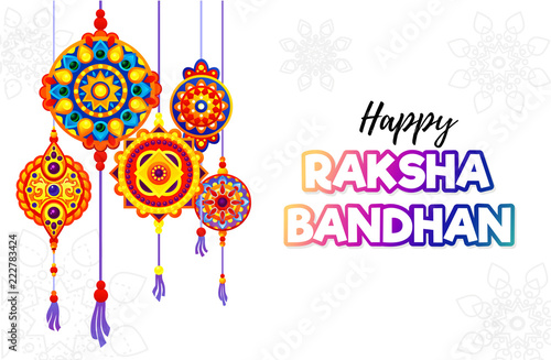 Raksha Bandhan greeting card design. Vector illustration. Wallpaper Mural