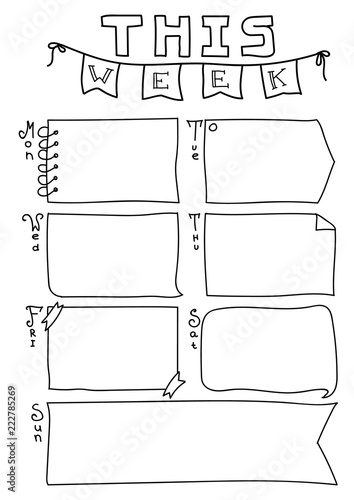 Photo  Bullet Journal Planner Page This Week printable letter or a4