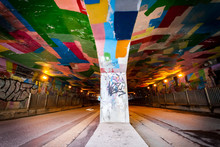 CITY TUNNEL For Vehicles With Ceiling , Painted In Bright Colors