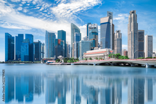 Photo  Singapore city landscape at day blue sky
