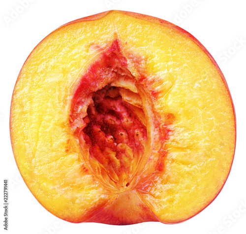 Front view of ripe half peach fruit without nut isolated on white background with clipping path