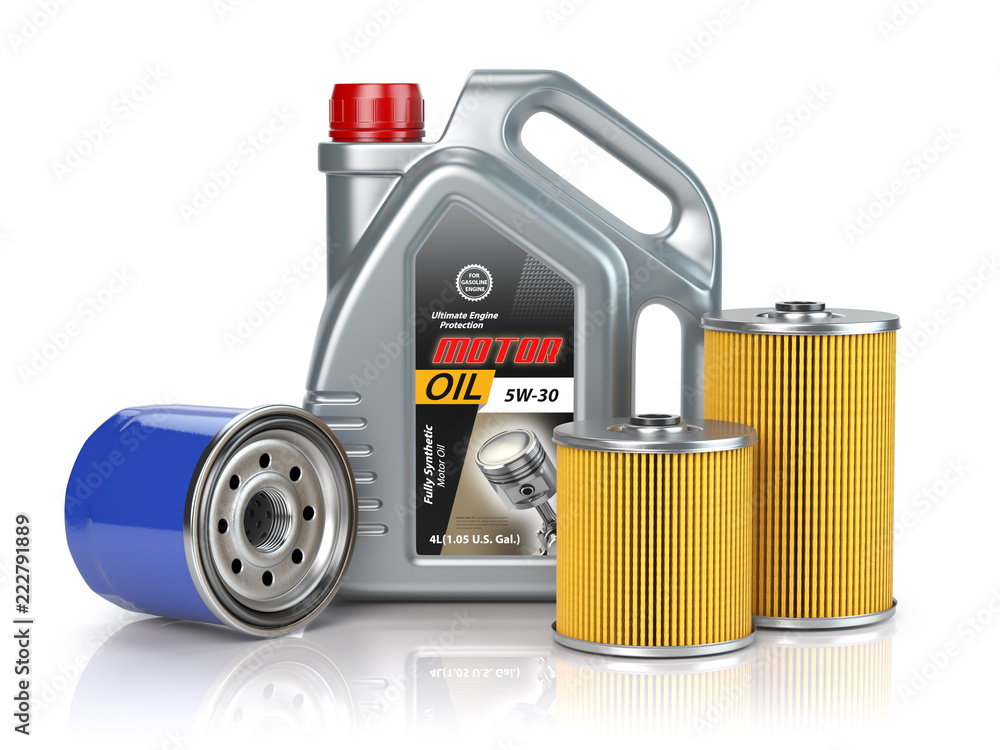 Fototapeta Motor oil canisters andcar oil filter isolated on white background. Auto service and car maintenance concept.