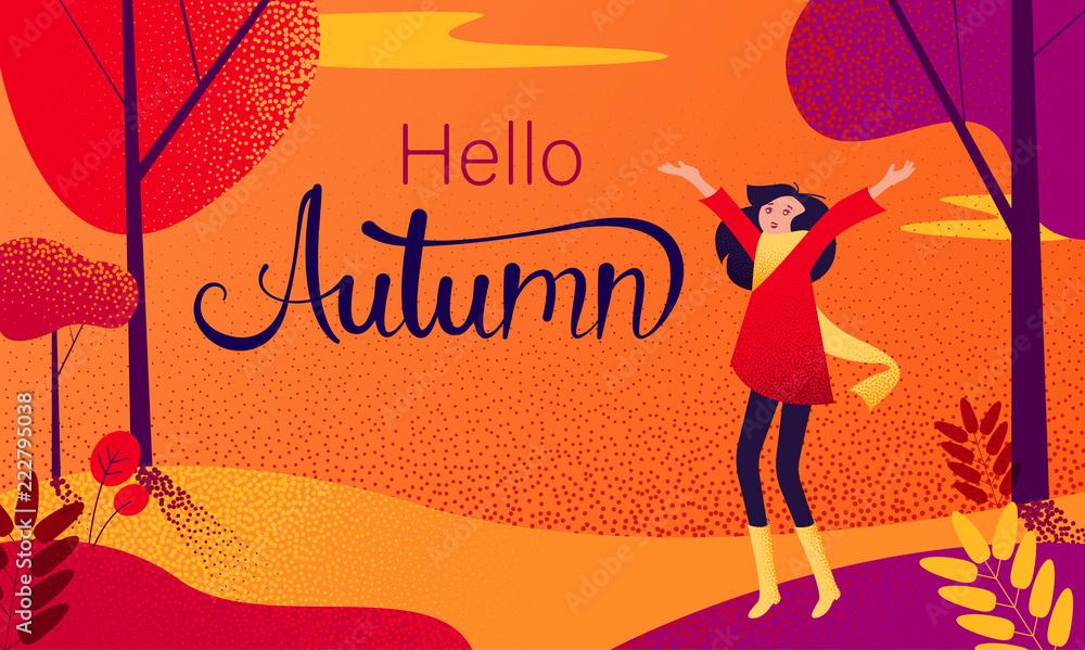 Fototapety, obrazy: Hello autumn card. Happy girl walk alone in park.