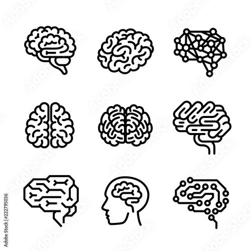 Leinwand Poster Brain icon set