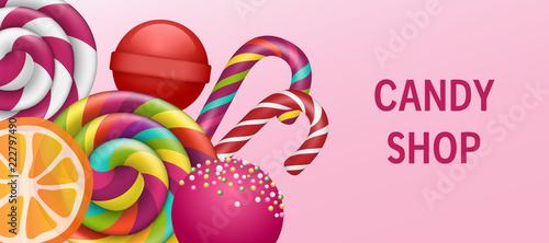 Fotografie, Obraz  Lollipop candy shop concept banner