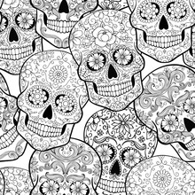 Halloween Seamless Pattern With Sugar Skulls, Coloring Page