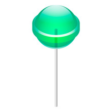 Green Lollipop Icon. Isometric Of Green Lollipop Vector Icon For Web Design Isolated On White Background