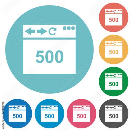 Fotografering  Browser 500 internal server error flat round icons