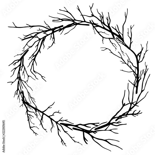 Canvas Print wreath of dead branches,