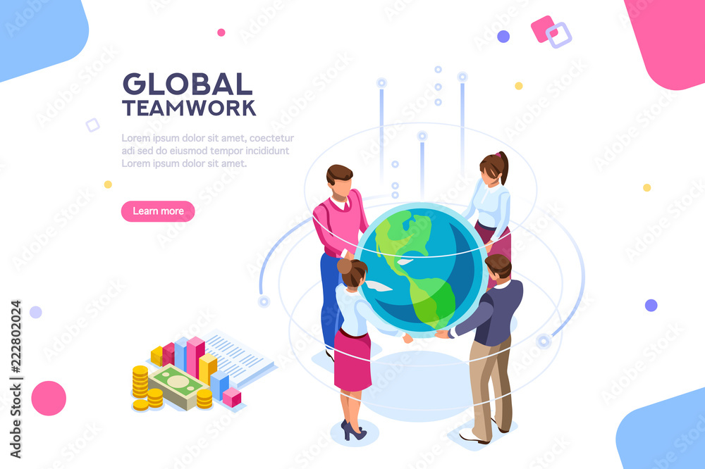 Fototapeta Search idea, new meeting profit, worker partner, staff strategy. Businesswoman presentation. Confident company investor corporate global colleague standing. World of flat isometric vector illustration