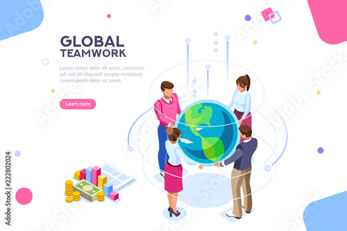 Search idea, new meeting profit, worker partner, staff strategy. Businesswoman presentation. Confident company investor corporate global colleague standing. World of flat isometric vector illustration - fototapety na wymiar