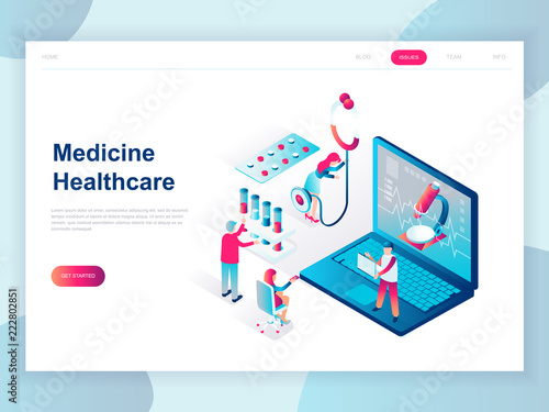 Modern Flat Design Isometric Concept Of Online Medicine And Healthcare For Banner And Website Isometric Landing Page Template Doctors Treating The Patient Vector Illustration Buy This Stock Vector And Explore Similar