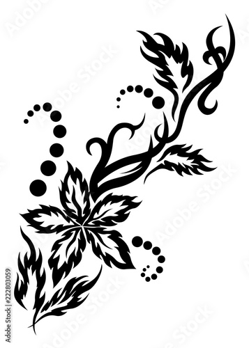 e2acca27e Black tribal flower tattoo illustration with leaves and dots - Buy ...