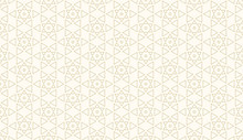 Pattern Seamless Abstract Background Gold Color And Line. Islamic Geometric Line Vector.