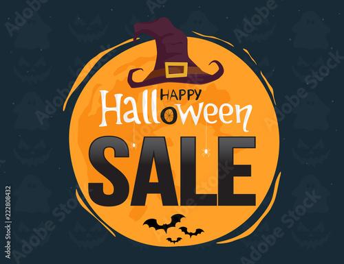 Tuinposter Halloween Halloween sale. Banner on night background. Vector illustration.