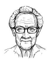 Portrait Of An Old Man, Pensioner. Grandpa. Hand Drawn Vector Illustrtion