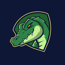 Modern Professional Logo For Sport Team. Alligator Mascot. Crocodile, Vector Symbol On A Dark Background.