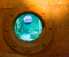 Rusted Streaked Round Porthole In The Side Of An Old White Painted Ship With Blue Surface At The Bottom