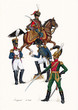 French colonels, 1812. Napoleonic uniform. Napoleonic wars illustration.