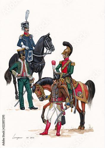 Valokuvatapetti French majors illustration. Napoleonic wars illustration.