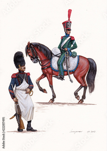 Valokuva French Caporal and Brigadier illustration,  1812