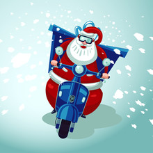 Santa Claus Riding On A Vintag...