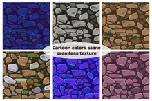 Big Set View Seamless Background Texture Color Stones. Illustration For Ui Game Element