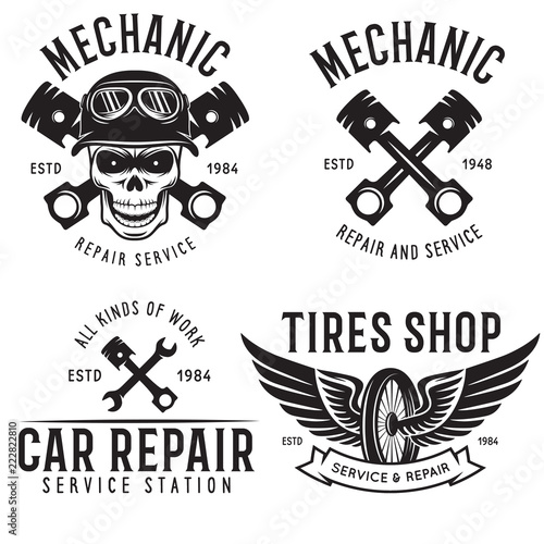 Vintage Car Service Badges Templates Emblems And Design Elements Garage Repair Retro Labels Collection Included Tire Logos Mechanic Tools