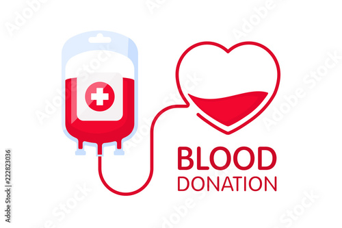 Fotomural Donate blood concept with blood bag and heart