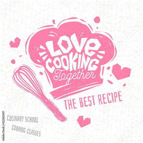 Fotografía Love cooking together, Cooking school culinary classes logo utensils apron, fork, knife, master chef