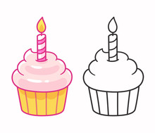 Cupcake With Birthday Candle