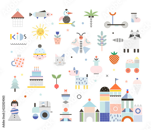 Set Of Cute Elements Different Creative And Fun Graphic Items