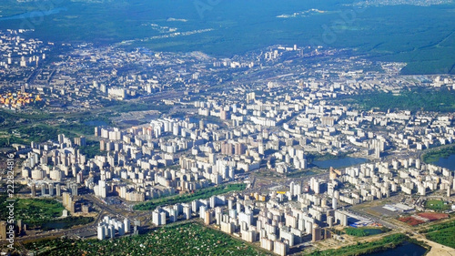 Foto op Plexiglas Kiev Kiev city from fly aircraft view, little buildings, parks and river
