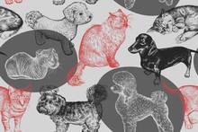 Seamless Pattern. Cute Puppies...