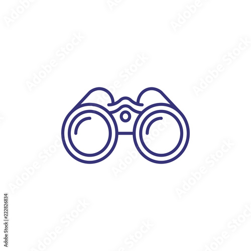 Fototapeta Binoculars line icon. Exploration, discovery, optical equipment. Navigation concept. Vector illustration can be used for topics like travel, tourism, nautical shipping obraz