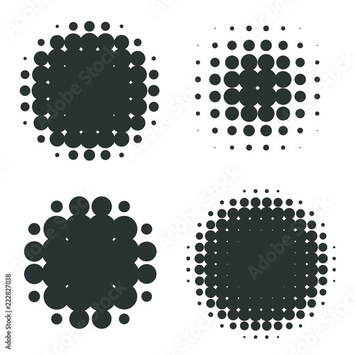 Halftone patterns set. Halftone dots Wall mural